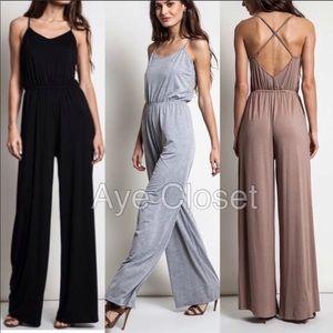 50983988c4b Pants - Criss cross front loose jumpsuit dress Black